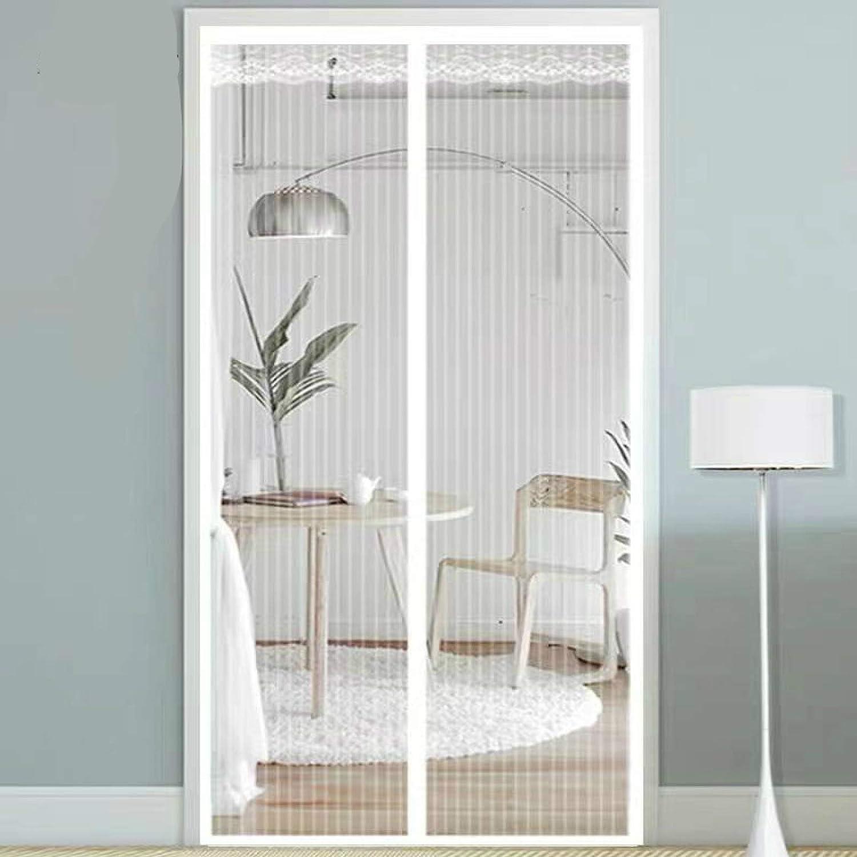 JFCXBSSL Mosquiteras para puertas de encaje blanco hilo de red de rayas verticales cortina de puerta Velcro sin perforación autoatraer imán anti mosquitos cortina de división