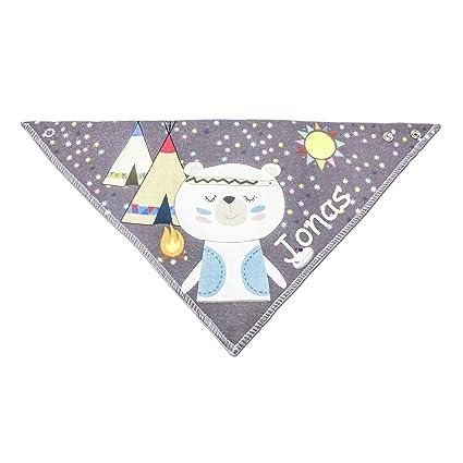 Pañuelo bordado con nombres Niño Bebé regalo para bautizo, algodón Indianer grau