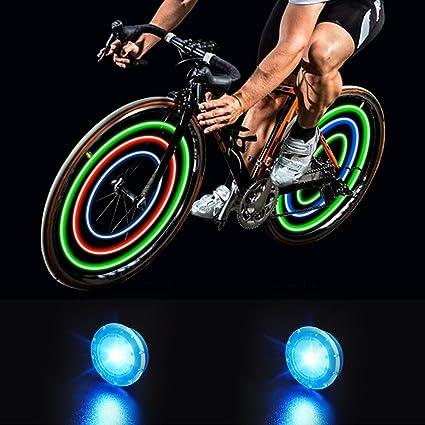 Luces de Rueda de Bicicleta Luces de Radios Ciclismo LED Impermeable Luces Rueda Colores Luz Radio Llanta 3 Colores con Baterias Incluidas 12 Piezas