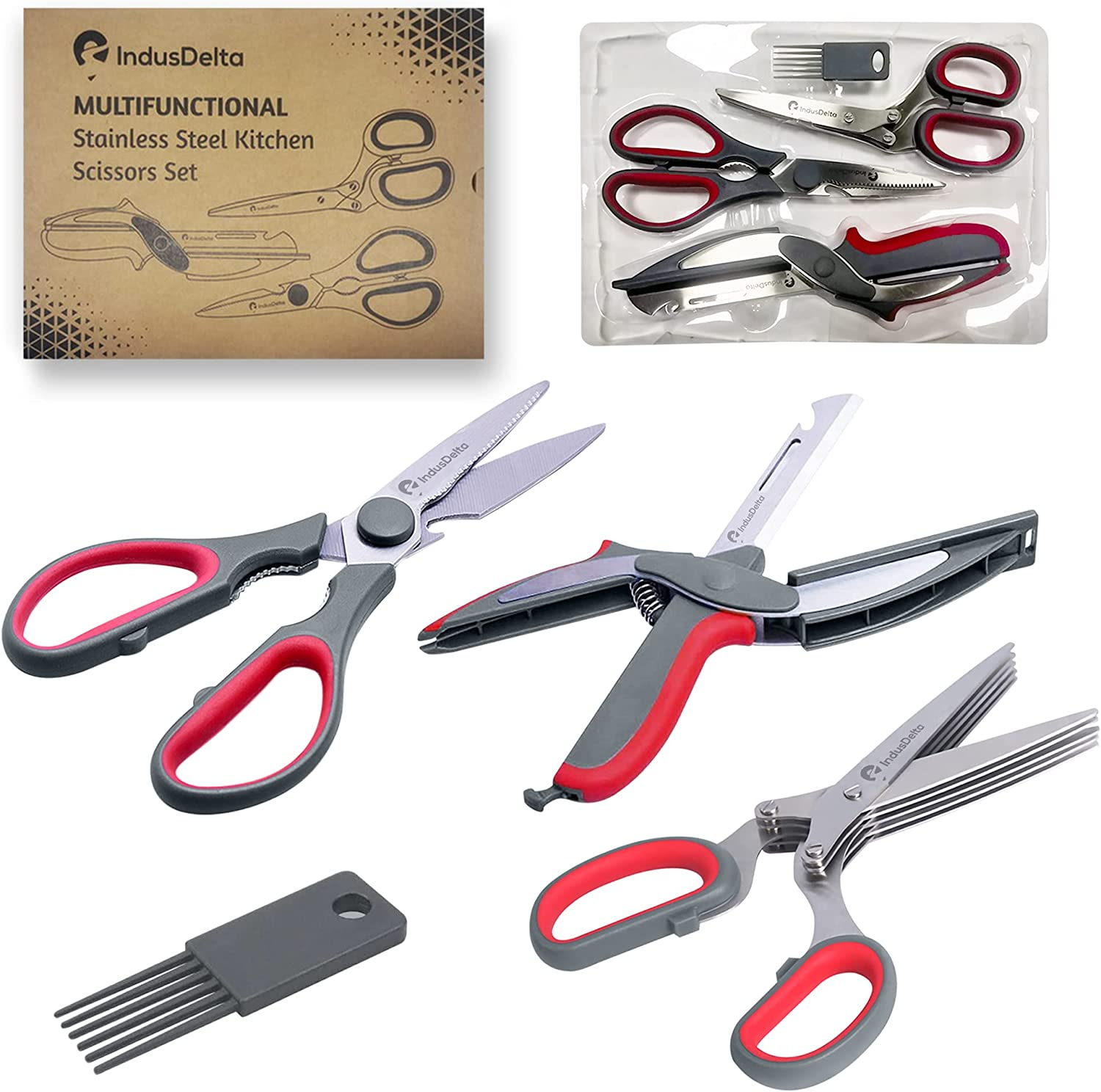 Salad Chopper Scissors Set With Smart Shears for Seafood Herb Scissors With 5 Blades Kitchen Shears Dishwasher Safe And Heavy Duty Scissors Cutting Scissors Kitchen Shredding Scissors