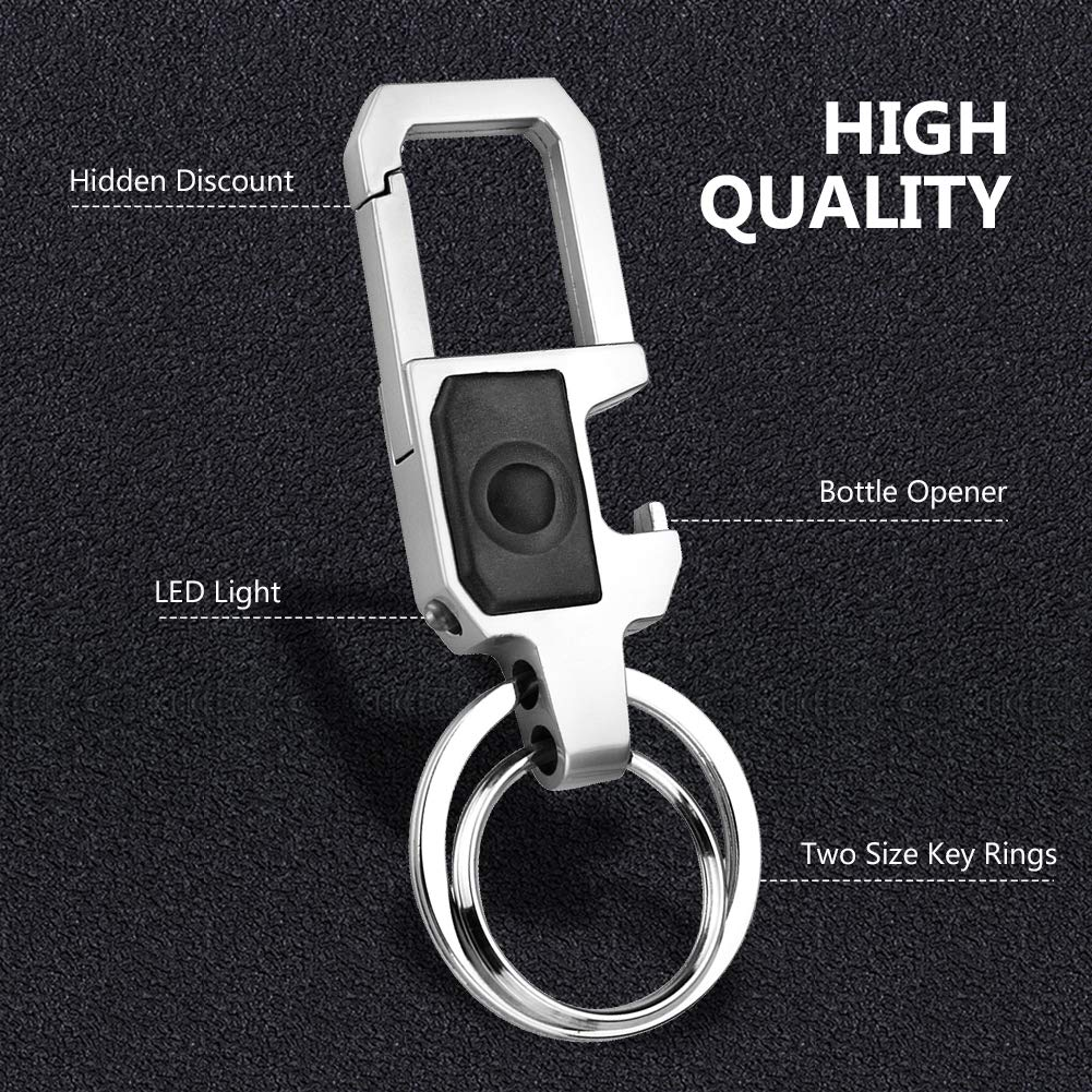 2 Pack Heavy Duty Key Chain,Snepon Zinc Alloy Multi-function Cool Keychain with Bottle Opener LED Key chains,Dual Ring Metal Car Keychain for Men and Women