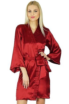 1d3f1bb513 Bimba Women Getting Ready Bridesmaid Robes Red Satin Short Robe at ...