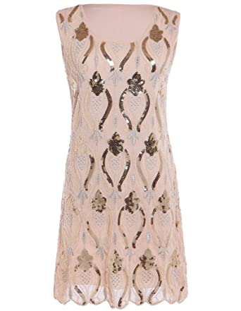 Hblld Womens Flapper Sequin Cocktail Party Prom Dress Ball Gowns Beige