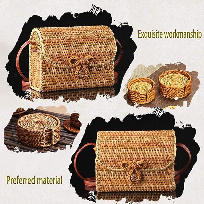 Amazon.com: DDKK - Bolso bandolera de piel de bambú natural ...