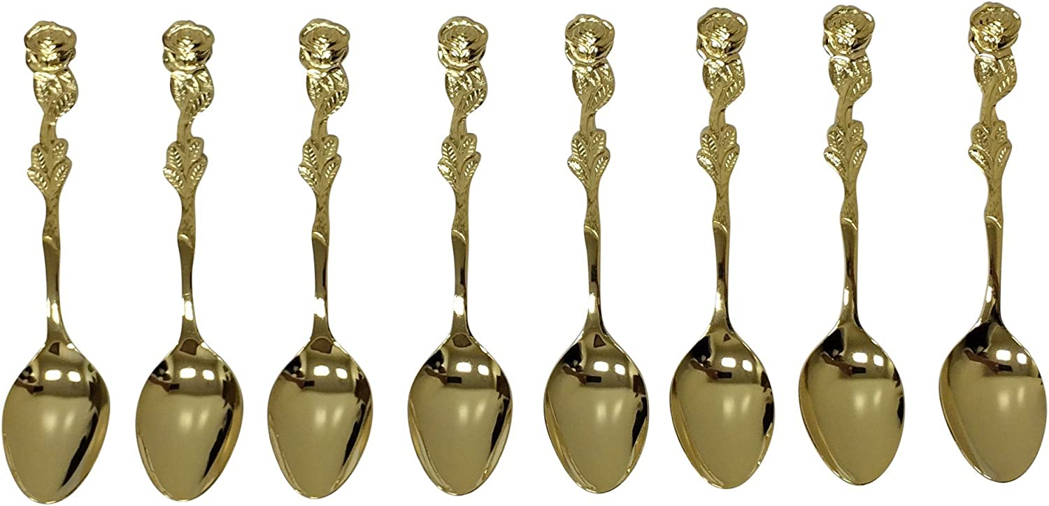 HIC Brands That Cook Gold Plated Rose Demi Spoon, Set of 8