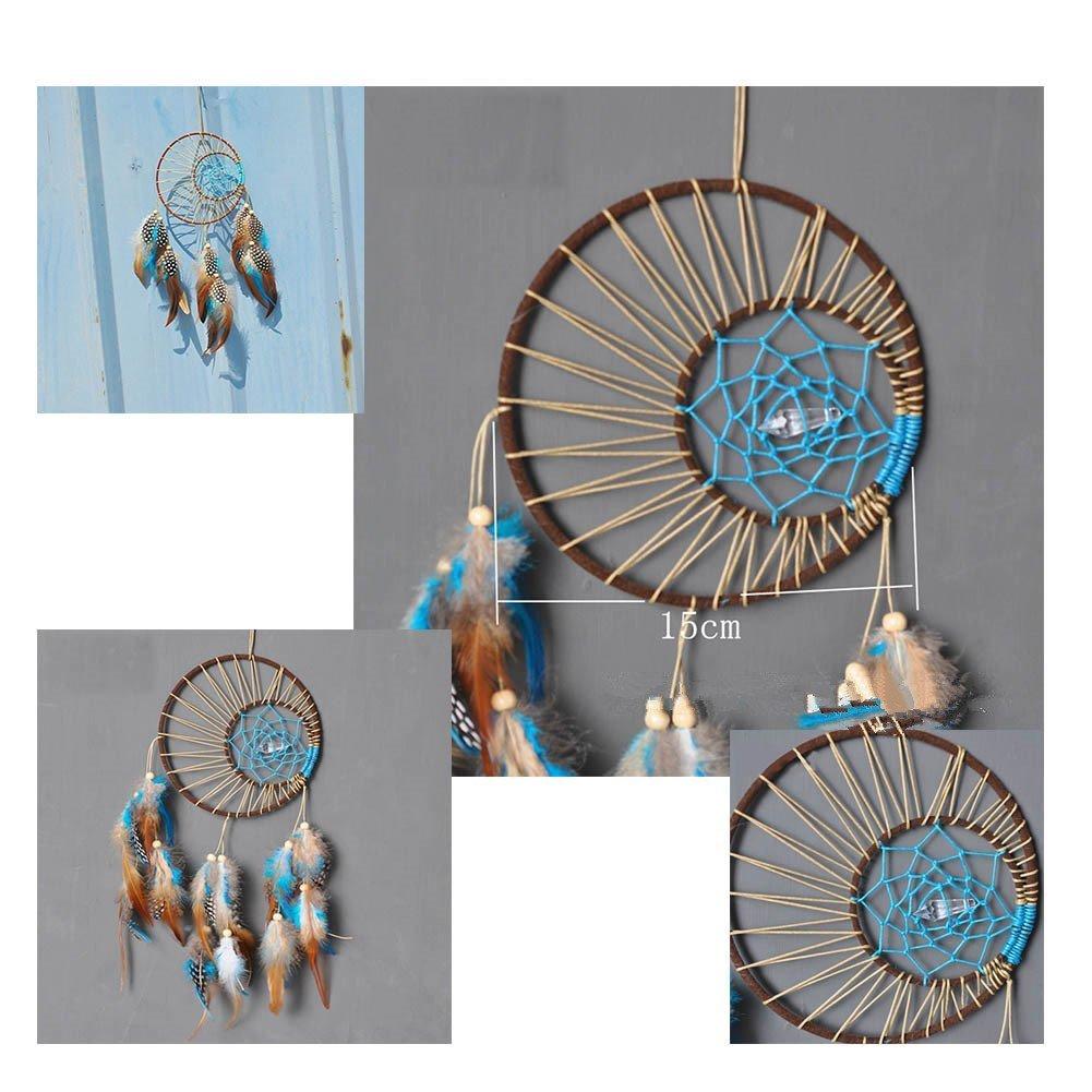 da appendere alla parete o in auto ottimo come ornamento o regalo Naisicatar Acchiappasogni indiano fatto a mano con piume vere