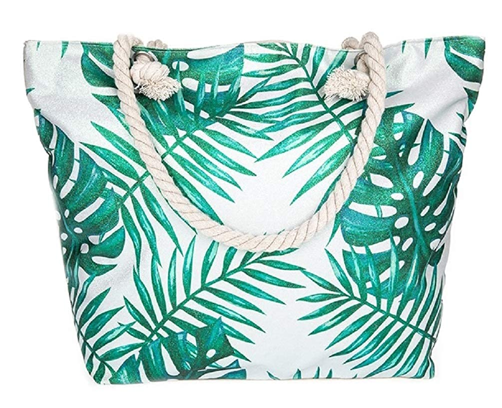 LilyRosa/® Large Canvas Beach Bag Tuquoise White Llama Rope Handles Zipped Inner Pocket
