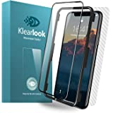 Klearlook Clear Glass Screen Compatible with iPhone X/iPhone XS Screen with Install Tool, (Full Coverage)(Case Friendly) HD Tempered Glass Screen with Edge to Edge Cover+Carbon Fibre Rear Sticker