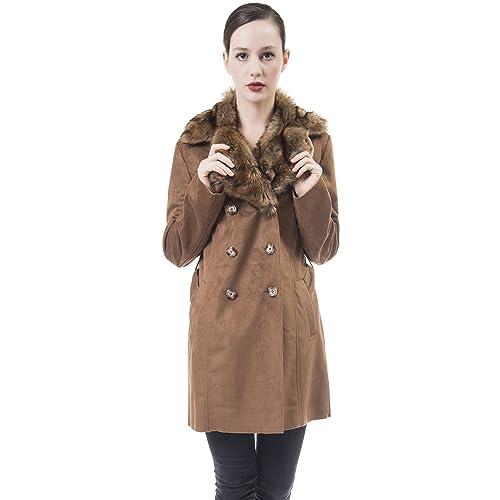 De las Mujeres Vendimia Calentar Mullido Leopardo Abrigo de piel Sintética Chaqueta