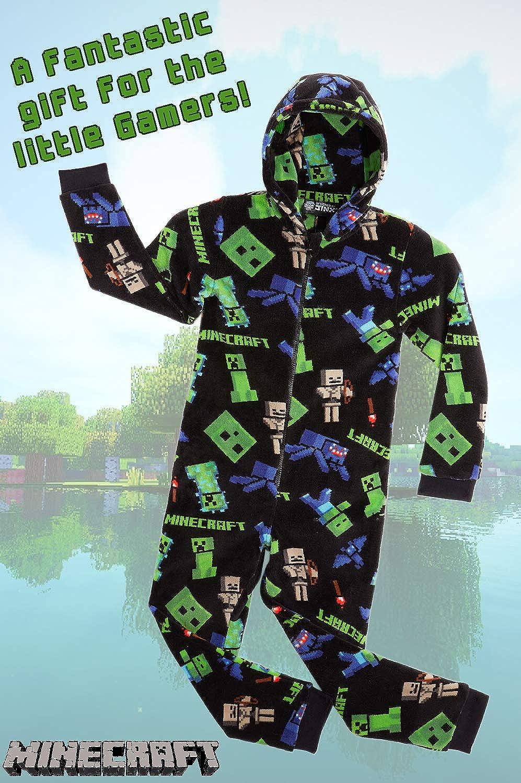 Ganzk/örperanzug Schlafoverall Kinder Minecraft Onesie Jumpsuit Kinder Strampler Schlafanzug Jungen Warm Weich Onesies Fleece Hausanzug Schlafanzug M/ädchen Geschenke f/ür Kinder