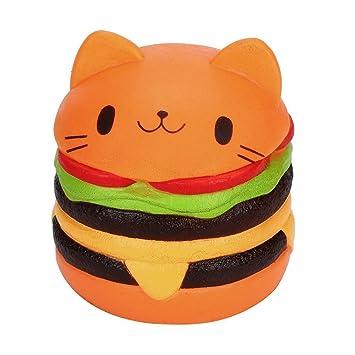 mi ji Squishy Kawaii,Squishy Gato,Jumbo Gato de Diseño Hamburguesa Perfumada Lenta Levantar Exquisito Niño Juguete antiestrés (Naranja): Amazon.es: ...