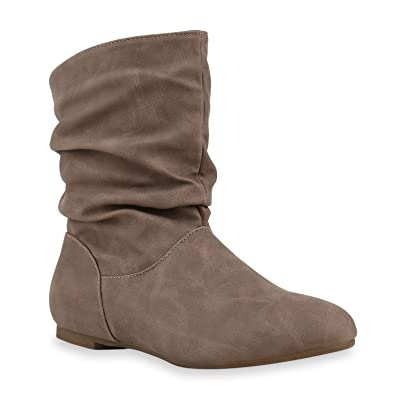 Stiefeletten Damen Schlupfstiefel Schnallen Stiefel Flach Boots Nieten  Leder-Optik Schlupfstiefeletten Schuhe 131946 Creme 36 6f90cd9391