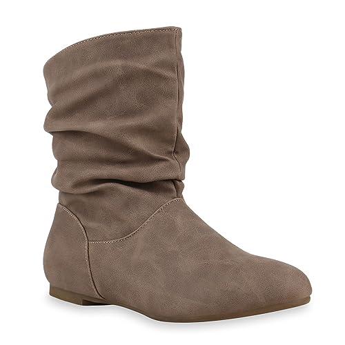 ea4ad1494bb2b1 Stiefeletten Damen Schlupfstiefel Schnallen Stiefel Flach Boots Nieten  Leder-Optik Schlupfstiefeletten Schuhe 131946 Creme 36