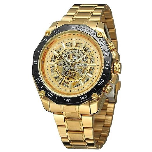 HWCOO Relojes Winner Mens Reloj mecánico automático Acero Mesa Oro Reloj (Color : 1): Amazon.es: Relojes