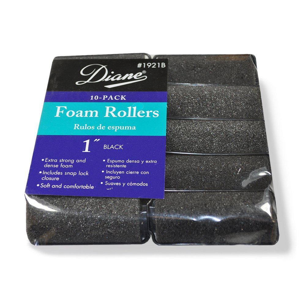 Fromm International Diane Foam Rollers, Black, 1-Inch, 10/Bag D1921B