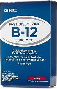 GNC B12 5000 Cherry 60 Vegetarian Fast Dissolving Loznges