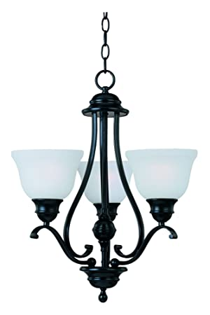Maxim 11804ICBK Linda 3-Light Chandelier Single-Tier Chandelier, Black Finish, Ice Glass, MB Incandescent Incandescent Bulb , 60W Max., Dry Safety Rating, Standard Dimmable, Metal Shade Material, Rated Lumens