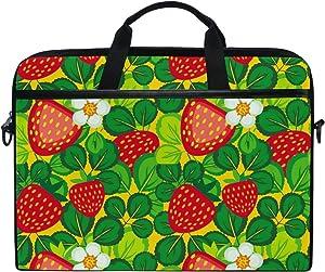 JSTEL Leaf with Strawberries Laptop Shoulder Messenger Bag Case Sleeve for 14 inch to 15.6 inch with Adjustable Notebook Shoulder Strap