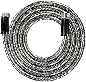 "BEAULIFE Short Metal Stainless Steel Garden Hose 10 Feet Drinking Rv Water Hose Dehumidifier Drain Hose Connector Extension Attachments 3/4"" Hose Bib Faucet Reel Extender for Outdoor"