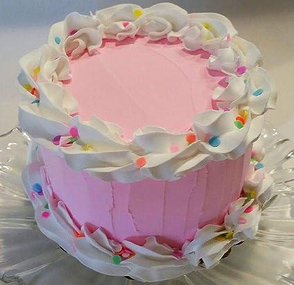 Amazon.com: Dezicakes Fake Cake Pink Confetti Birthday Cake 6