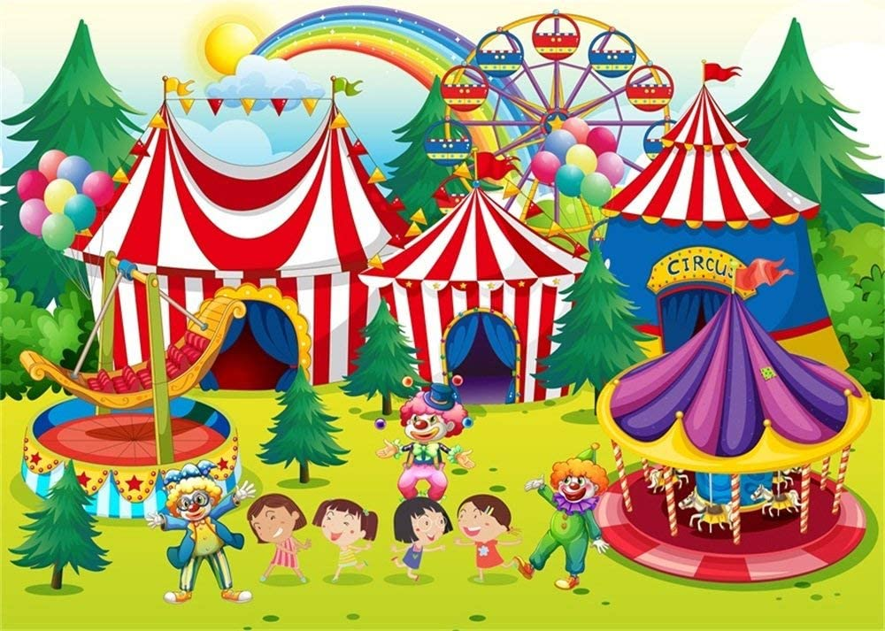9X6FT Circus Backdrop Kids Happy Birthday Backdrops for Photography Rainbow Merry Go Round Forest Trees Cartoon Vinyl Photo Background Boys Girls Studio Props