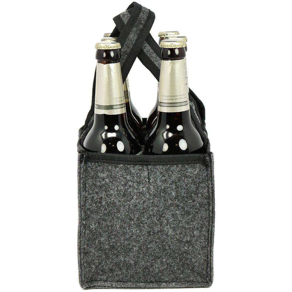 porte-bouteilles pour 6 bouteilles /à 0,33 l COM-FOUR/® Porte-bidon en bois avec d/écapsuleur en m/étal et poign/ée en m/étal 01 pi/èce - bois