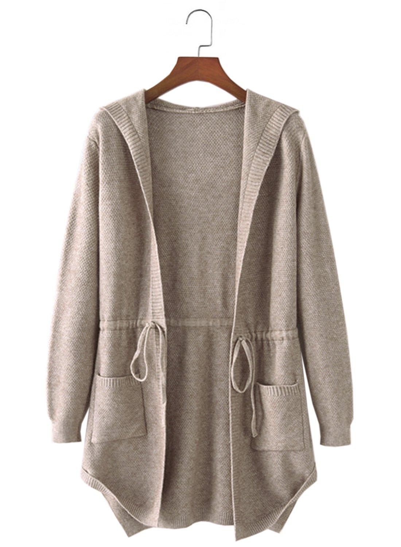 Futurino Women s Open Front with Pockets Hoodies Long Cardigan Boyfriend  Sweater f55eb1244