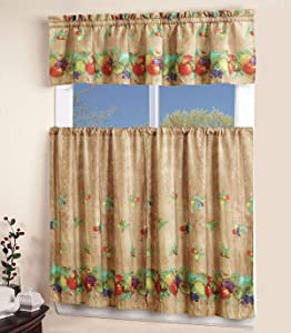 """Superior Home 3 Piece Kitchen Curtain Linen Set with 2 Tiers 27"""" W (Total Width 54"""") x 36"""" L and 1 Tailored Valance 54"""" W x 15"""" L, Apples Grapes Fruit Design Kitchen Curtain Décor Linen"""