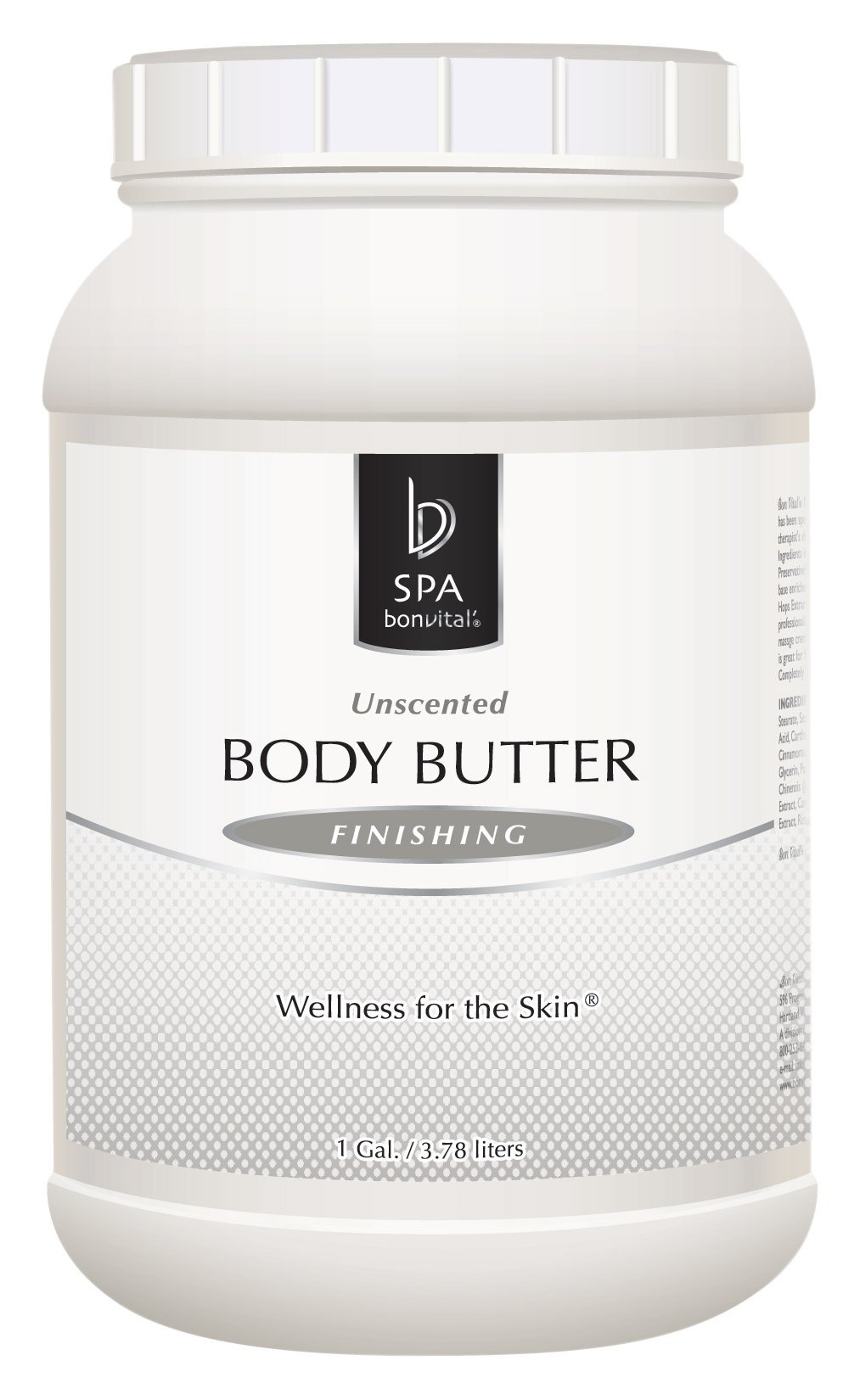 Bon Vital' Body Butter, Unscented Whipped Moisturizer with Cocoa Butter, Shea Butter, Beeswax, Hypoallergenic Lotion for Soft Skin, Professional Spa Quality Thick Lotion for Dry Patches, 8 oz. Jar