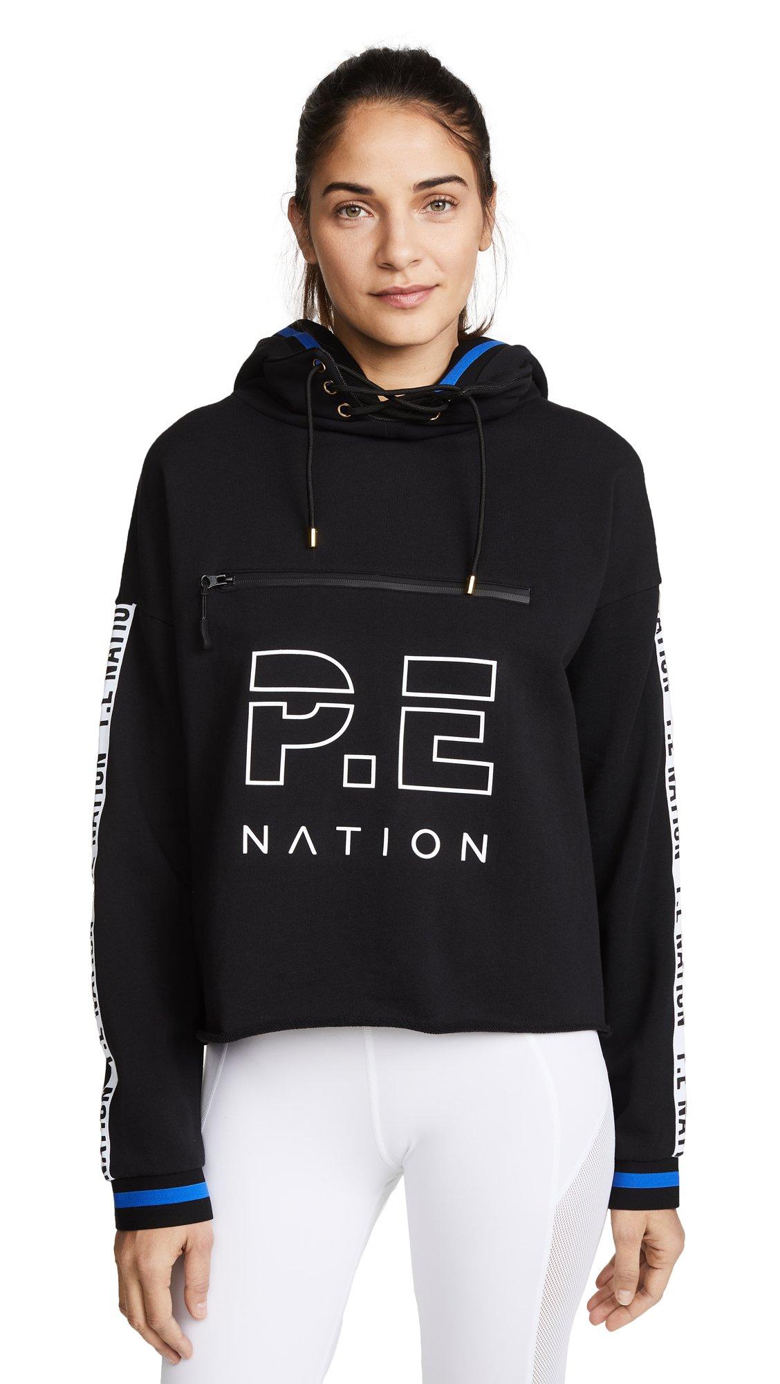 P.E NATION Women's Blind Pass Hoodie Top, Black, Medium