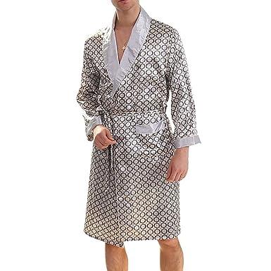 Vestido de Noche de Raso de los Hombres Longitud de la Rodilla Rodapié de Manga Larga Kimono, Conjuntos de Pijama de satén Camisón: Amazon.es: Ropa y ...