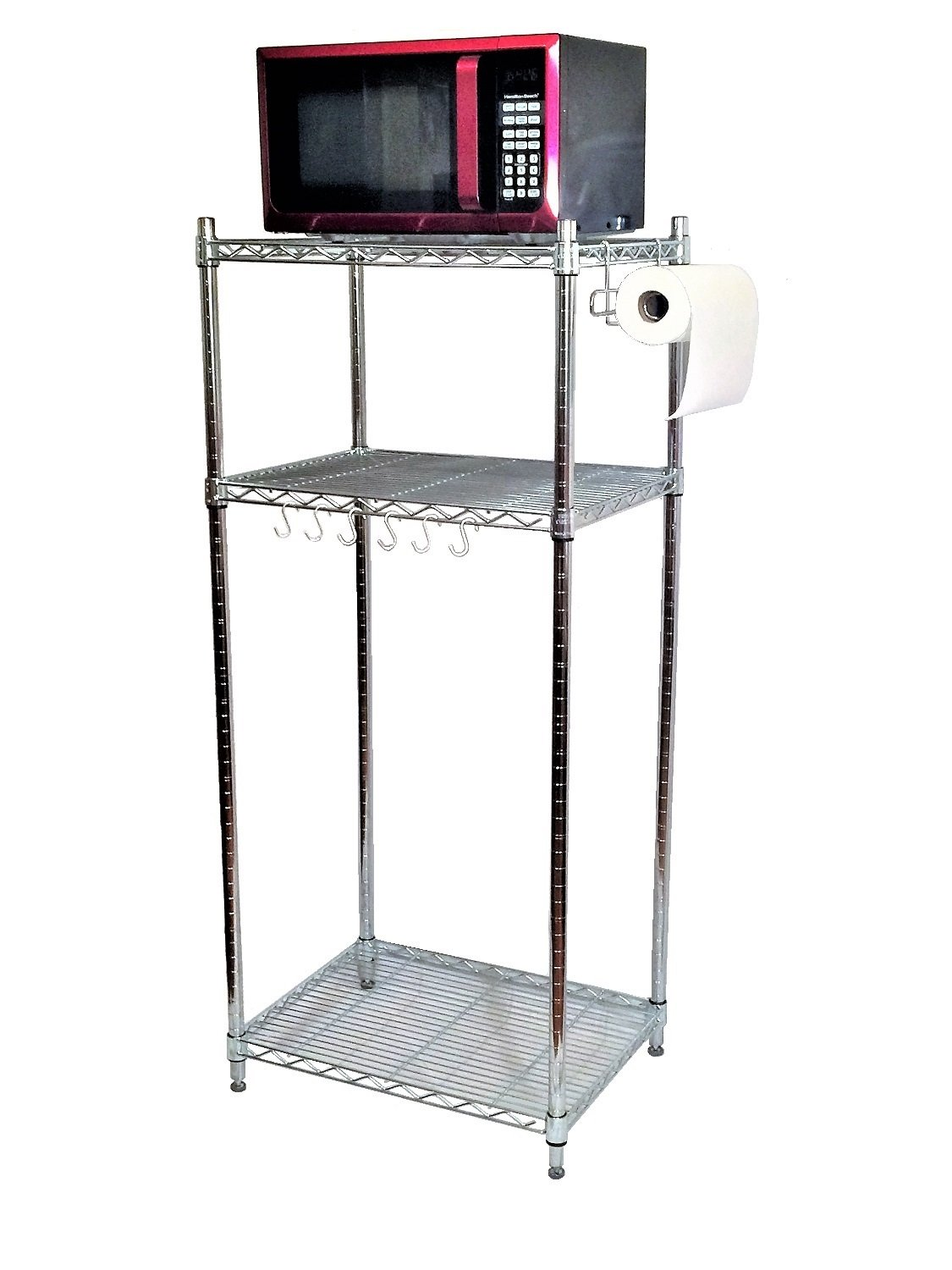 Mini Fridge Stand Storage Cabinet 3 Shelves Microwave Cart Stand Chrome Shelving Unit College Dorm Office Break Room Small Apartment Kitchen Shelves Refrigerator Base Man Cave Decor Furniture
