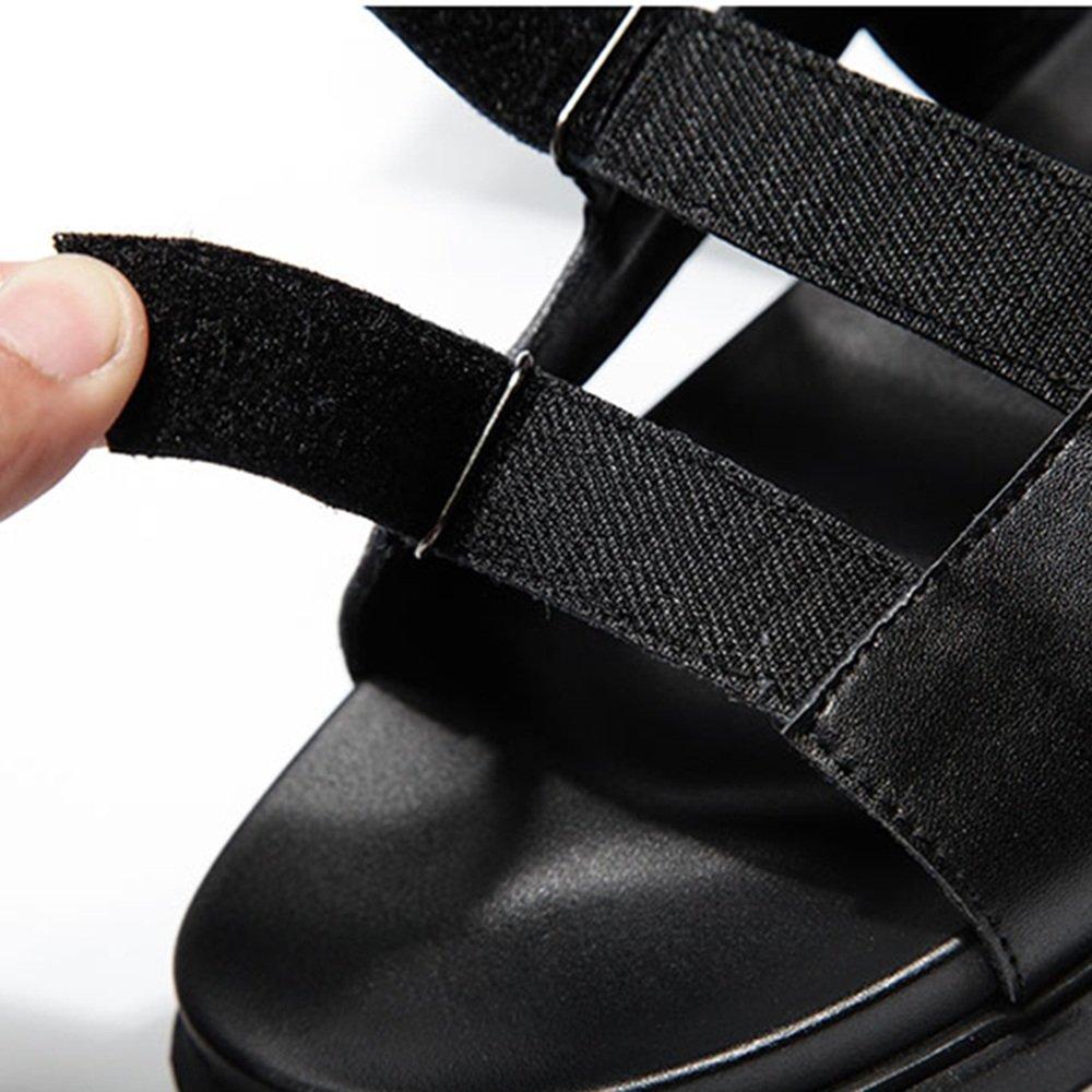 MAZHONG Sandalen Sandalen kühlen Männer Sommer Casual PU kühlen Sandalen Slipper Korean Outdoor Sports rutschfeste offene Zehe Sandalen Tide Herrenschuhe ( Farbe : schwarz-EU41/UK7.5-8/CN42 ) schwarz-EU39/UK6/CN39 2855fa