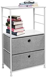 Sorbus Nightstand 2-Drawer Shelf Storage - Bedside Furniture & Accent End Table Chest for Home, Bedroom, Office, College Dorm, Steel Frame, Wood Top, Easy Pull Fabric Bins (White/Gray)