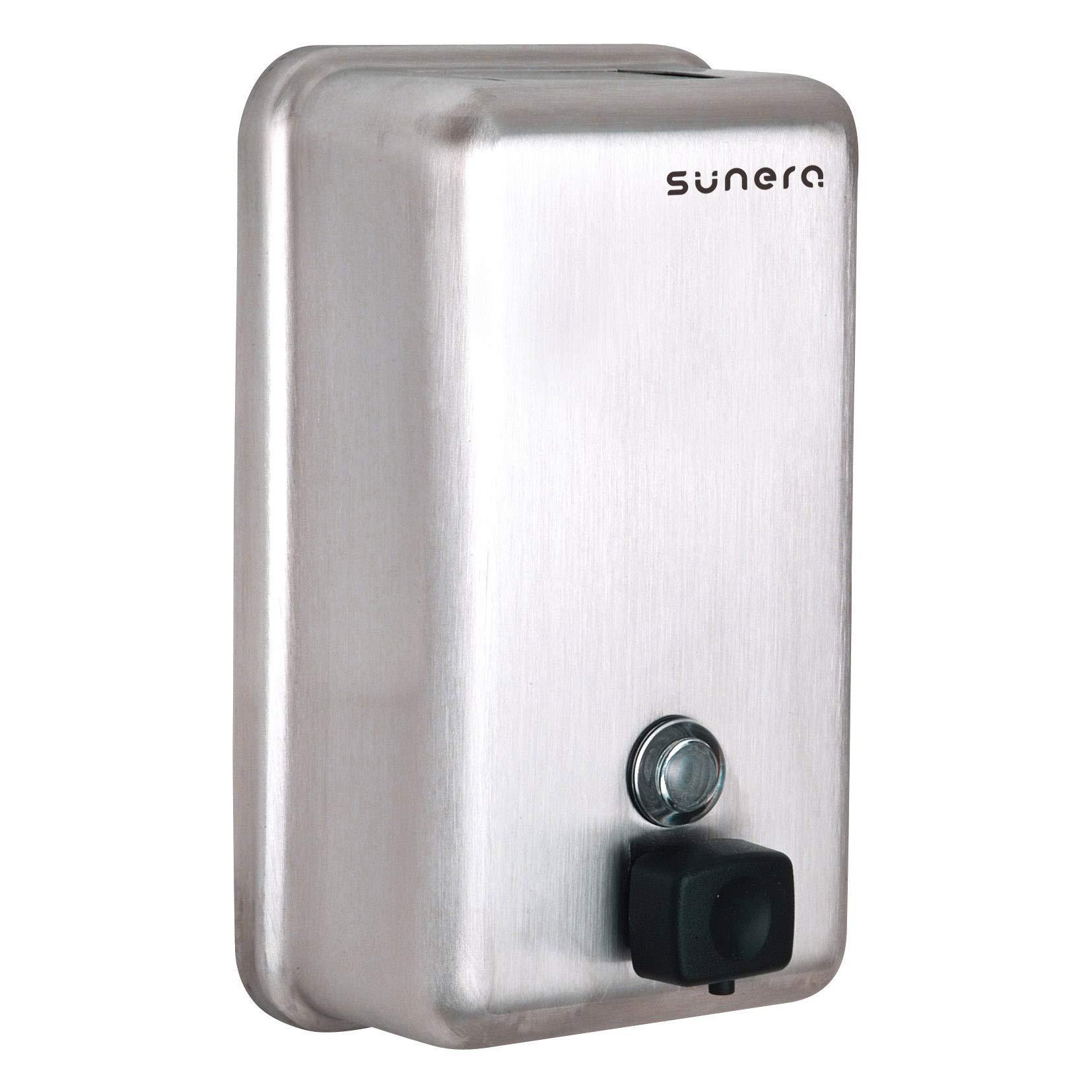 Sunera Vertical Liquid Soap Dispenser Black ABS Valve Stainless Steel Satin Finish 40oz/1200ml by Sunera