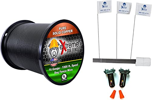 16 Gauge Wire 1000 Ft – Heavy Duty Pet Containment Wire Flag Bundle – Compatible with Every In-Ground Fence System for Dogs – Or 20 Gauge Wire Option