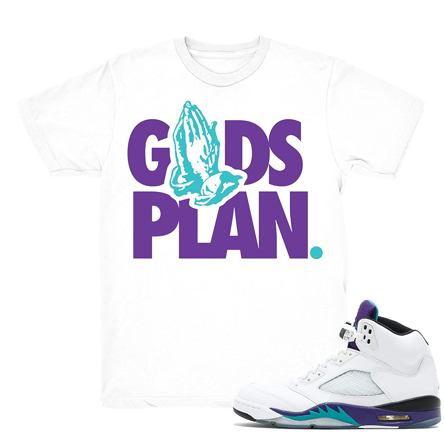 e0e1ead876a Amazon.com: Grape 5 Drake Gods Plan Shirt to Match Jordan 5 Grape Fresh  Prince Sneakers White t-Shirts: Clothing