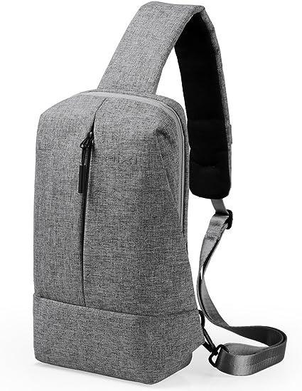 Men Women Sling Bag Travel Shoulder Backpack Chest Crossbody Daypack Grey