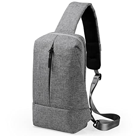 CrossBody Sling Bag Shoulder Chest Backpack Daypack Lightweight Casual Outdoor Sport Travel with USB Charging Port for Men Women Oscaurt Dark Grey
