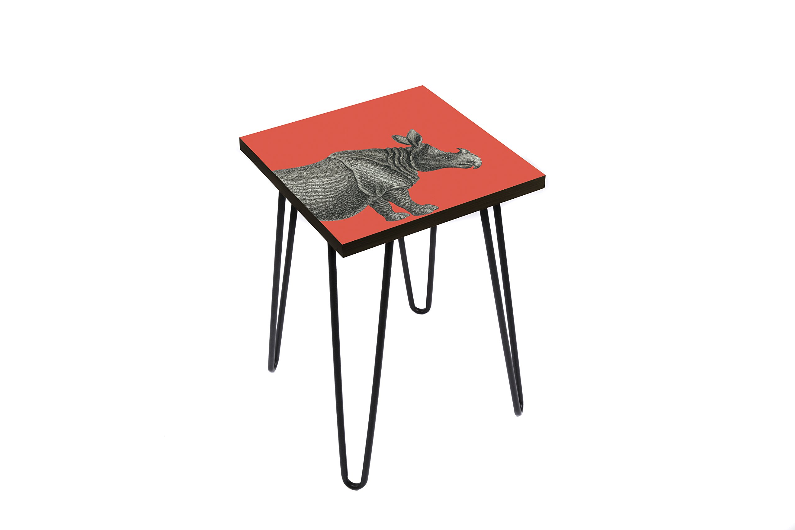 Wood End Table with Digital Print by LAMOU- Steel Hairpin Legs- Baltic Birch with Beautiful Rhino Print