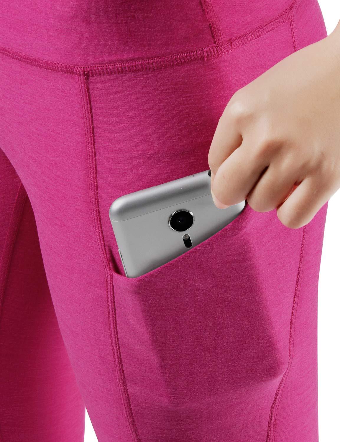 ODODOS High Waist Out Pocket Yoga Capris Pants Tummy Control Workout Running 4 Way Stretch Yoga Leggings,Fuchsia,X-Small by ODODOS (Image #4)