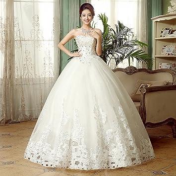 dididd vestido de novia de novia fina sin tirantes de novia XL blanco