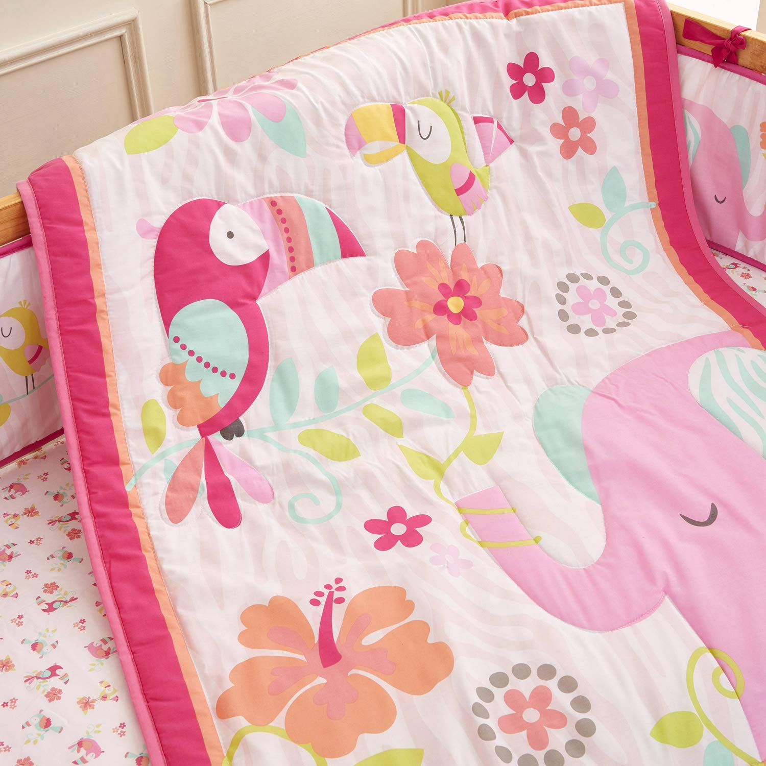 Wowelife Elephant Crib Bedding Sets for Girls Upgraded Pink Flower Birds 9 Piece Elephant Nursery Bedding for Baby Cotton with Bumpers and Diaper Stacker
