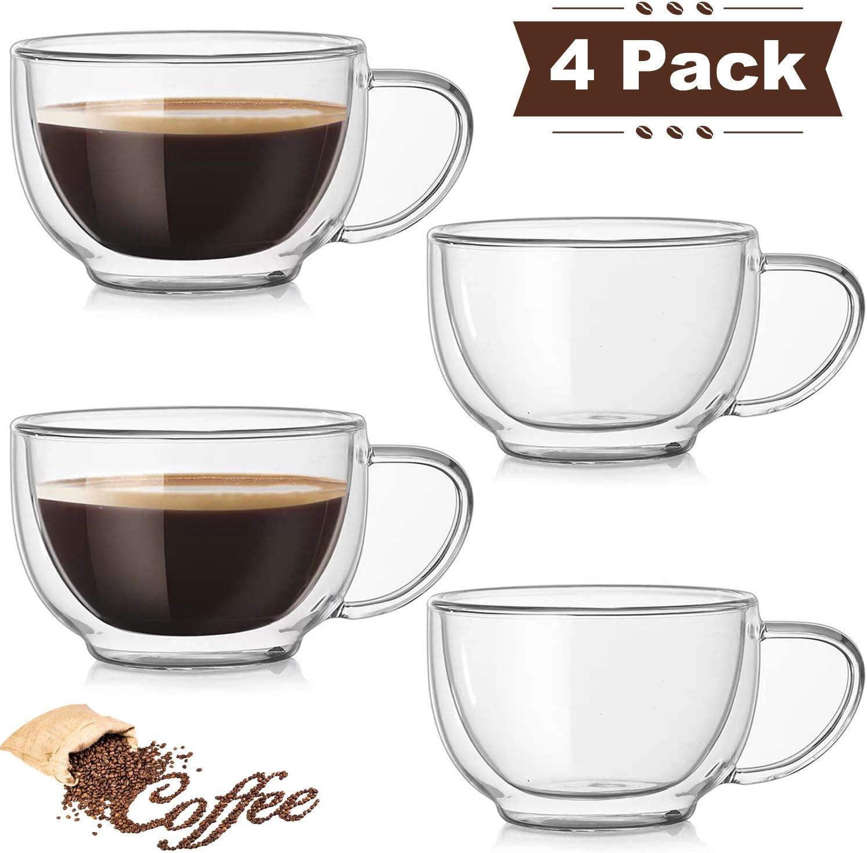DeeCoo Double Wall Cappuccino Glass Mugs 10oz, Clear Coffee Mug Set of 4 Espresso Mug Cups,Double Wall Insulated Glass Mug with Handles (Latte Glasses,Tea)