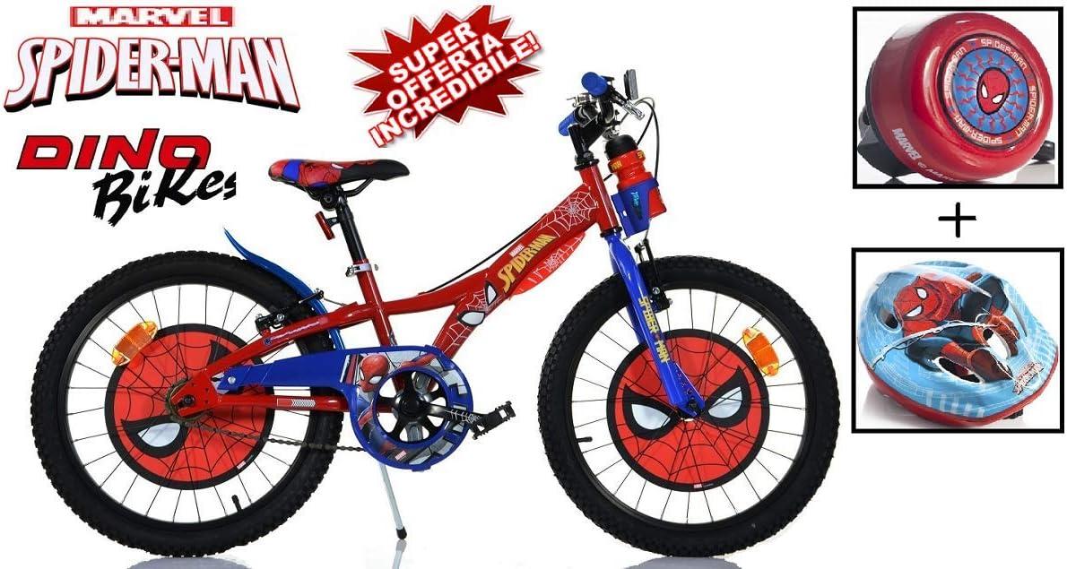 Bici 20 Spiderman + Casco + Timbre Original niño Dino Bikes Art ...