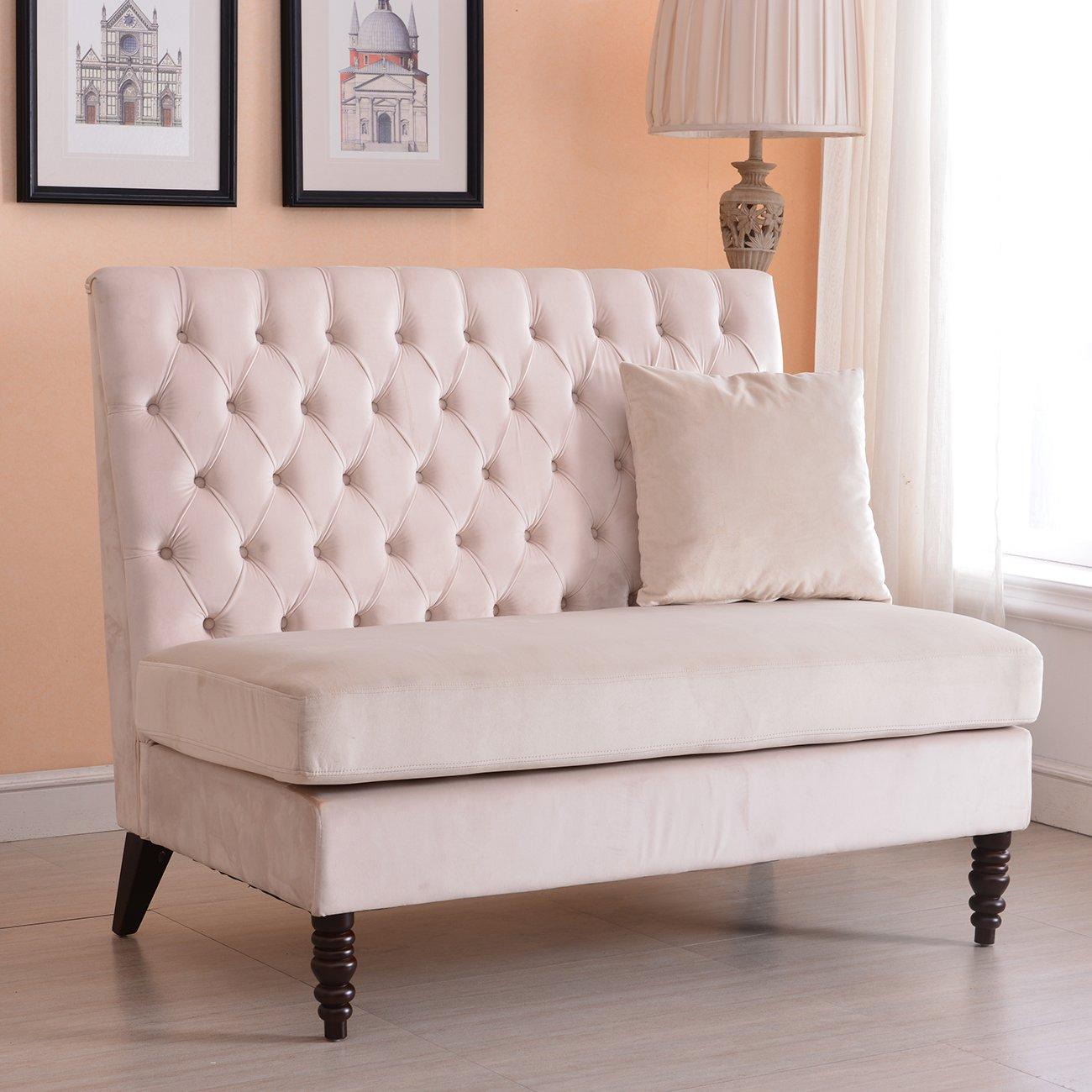 Velvet Modern Tufted Settee Bench Bedroom Sofa High Back Love Seat - Beige + FREE E-Book