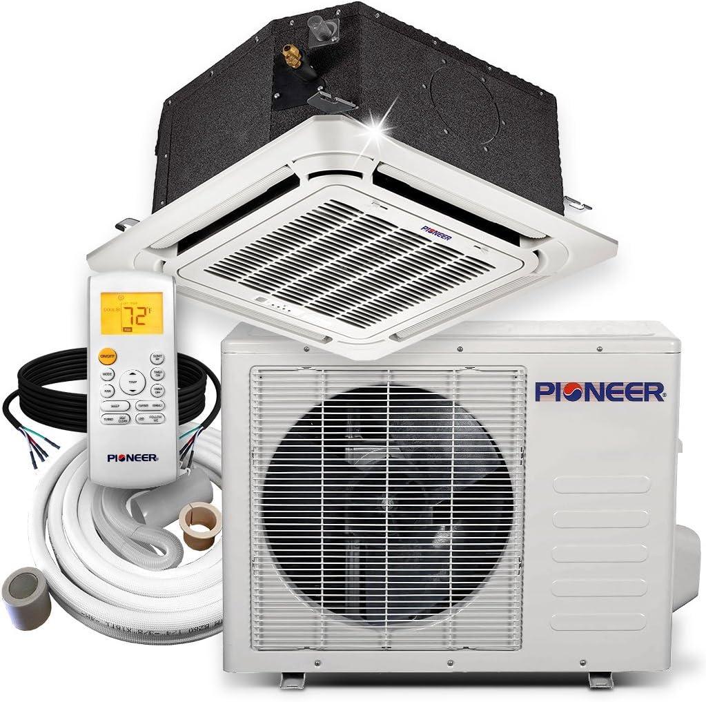 Pioneer Ceiling Cassette Split Ductless Inverter Heat Pump System Set, 12000 BTU