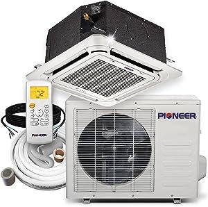 Pioneer Ceiling Cassette Split Ductless Inverter+ Heat Pump System Set, 18000 BTU