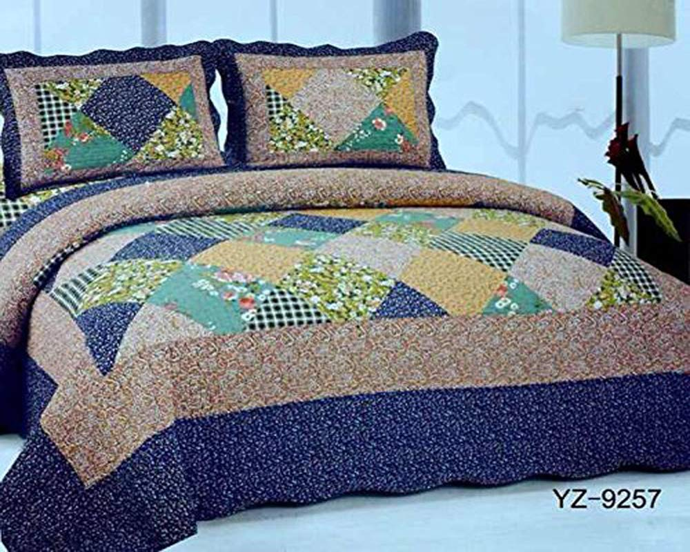 Bluemoon Patchwork 100% Cotton Quilted Bedspread Set With Pillow Cases Bed Throw Fits Double And King Size (YZ9211)