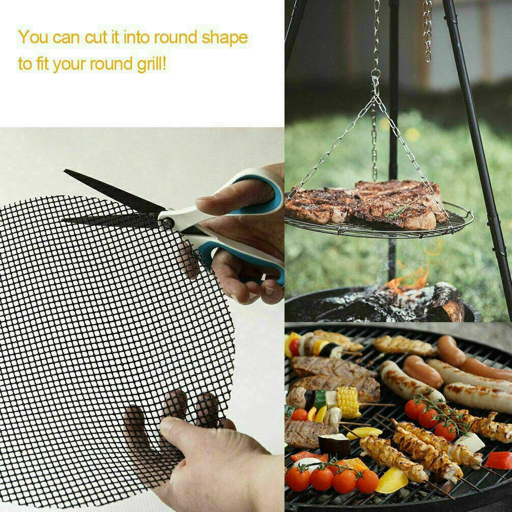 Electric Barbecue FDA-Approved Set of 2 Non-Stick Grill Mats 15.75 x 13 Inch Charcoal Zalaxy BBQ Grill Mesh Mat PFOA Free Reusable Use on Gas
